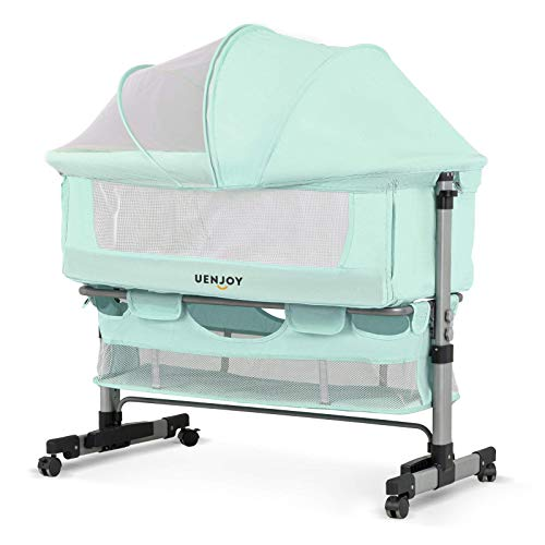 Uenjoy Baby Bassinet, Bedside Sleeper,Foldable Baby Bed to Bed, 6 Height Adjustable Portable Crib for Newborn/Infant,with Mosquito Nets, Large Storage Bag, Mattresses, Lockable Wheels,Green