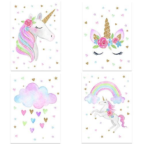 4 Stück Poster Regenbogen-Einhorn, A4 (21x30cm), Ohne Bilderrahmen, Deko Wand Bild, Dekoration Wohnung modern, Zimmer Deko, Leinwandbild Kunstdruck