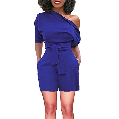 TOTOD Rompers for Women, Summer Sexy Off Shoulder Ruffle Shorts Fashion Short Sleeve Jumpsuits with Pockets(Blue,2XL)