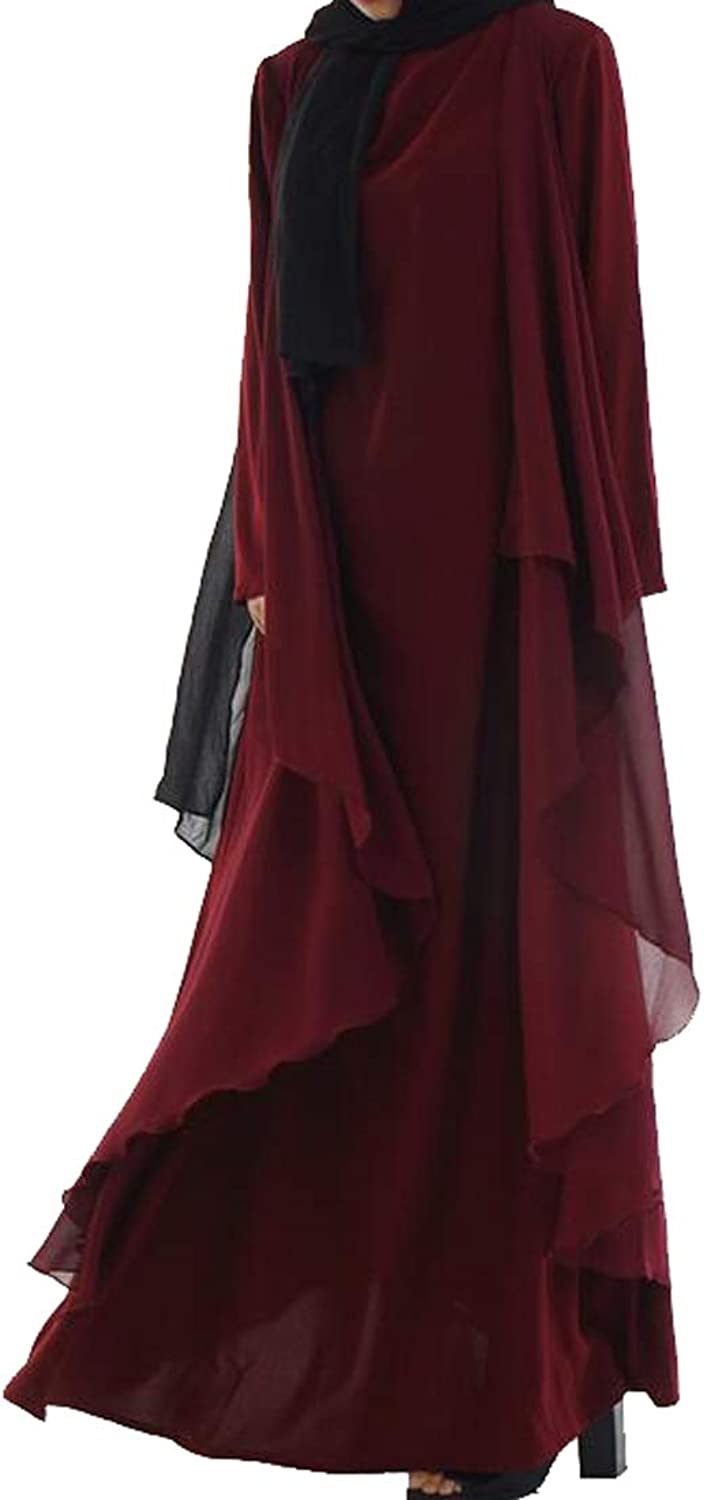 Fensajomon Women Solid color Loose Fit Long Sleeve Muslim Middle East Maxi Robes Kaftan Dress