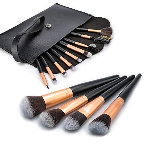 BenRich® Make-up-Pinsel-Set, 13-teilig, professionell, tierversuchsfrei, synthetische Grundierung, Lidschatten, Augenbrauen, Make-up-Pinsel-Set, mit Kunstleder-Tasche, Schwarz / Gold