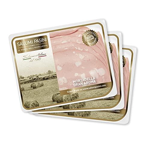 Italienische Mortadella Gran Aroma Salumi Pasini® | Linie Die Auswahl | Dreierpack | Fertig geschnittene Scheiben | Abgepackt | 90 g pro Verpackung