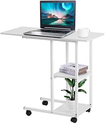 Beistelltisch mit Rollen Laptoptisch Höhenverstellbar Computertisch Weiß Laptopständer Notebooktisch Schreibtisch Multifunktionaler Pflegetisch mit Ablage Frühstückstisch für Zuhause Büro