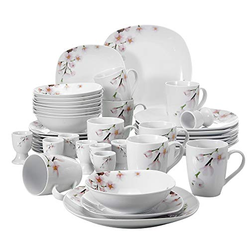 VEWEET Porzellan Kombiservice 'Annie' 40 teilig | Geschirrservice für 8 Personen | Frühstückservice mit je 8 Eierbecher, Kaffeebecher 350 ml, Müslischalen, Dessertteller und Flachteller