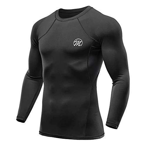 MEETWEE Kompressionsshirt Herren, Langarm Funktionsshirt Sportshirt Atmungsaktiv Fitnessshirt Männer Trainingsshirt Laufshirt für Running Jogging Gym