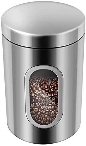 Cosaux Aufbewahrung Vorratsdose WQ010 Kaffeedose Edelstahl Kaffeebehälter Luftdicht für Kaffeebohnen Tee, Nüsse Kakao oder Süßigkeiten1.5 Liter Silber
