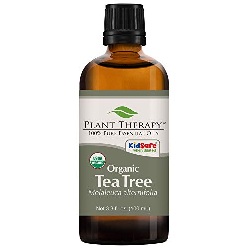 Plant Therapy Organic Tea Tree Oil (Melaleuca) 100% Pure, USDA Certified Organic, Undiluted, Natural Aromatherapy, Therapeutic Grade 100 mL (3.3 oz)