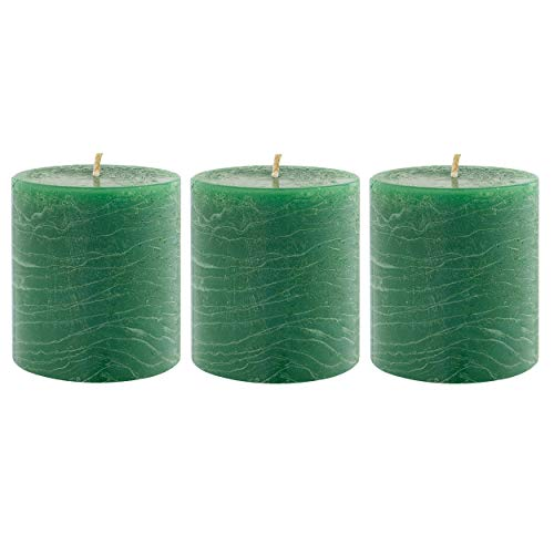 Unscented 3x4 Tall Pillar Candles – Set of 3 Hand Poured Wax Candles | Smokeless, Clean Burning Décor for Home, Weddings, Church, Events | Dark Green