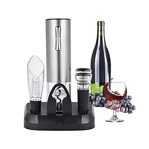 Sacacorchos Eléctrico para Vino Profesional – Abridor Automático De Botellas De Acero Inoxidable Sacacorchos para Vino con Puerto De Carga USB, Cortacápsulas, Tapón Y Vertedor