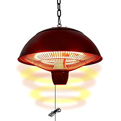 Hand-Mart 1500W Electric Patio Heater Ceiling mounted outdoor heater Infrared Heater, 1500W/600W Setting Hanging Heater,Waterproof for Indoor Outdoor Heater Use, Stainless Steel Round Top, Black