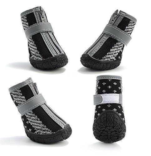 Hcpet Breathable Pet Dogs Shoe TPR Rubber Outsole Non-Slip Waterproof Durable Small Dog Booties with Zipper