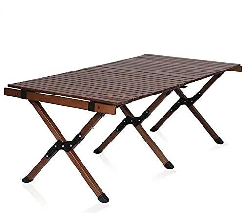 YCSC Mesa de picnic plegable portátil ligera para acampar al aire libre, comedor, barbacoa, fiesta, bistro lateral para patio, jardín, mesa de café de madera