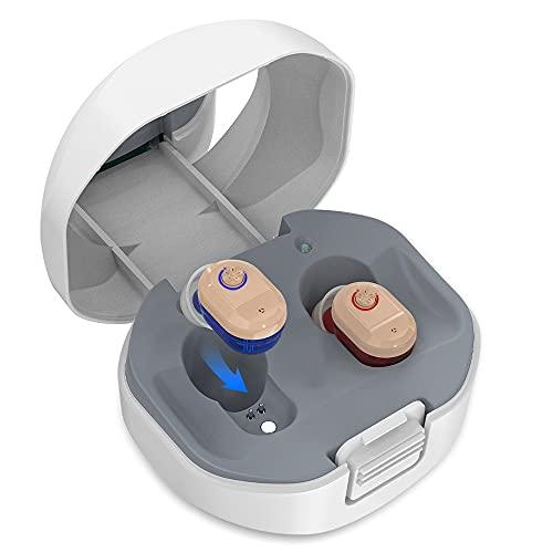 GUOIOOI Amplificatore Audio Personale Premium per Adulti, Amplificatore Audio Ricaricabile Invisibile in-Ear, Include Dispositivo Destro E Sinistro, con Scatola di Ricarica (1 Paia)