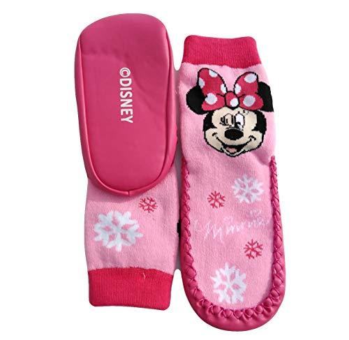 Coole-Fun-T-Shirts Minnie Mouse Mädchen Antirutsch Socken Hausschuhe Strümpfe mit Sohle 23 24 25 26 27 28 29 30 weich gepolstert (29/30, PINK)