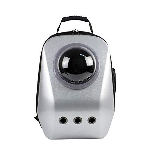 Huanhog Caseta De Perro Cachorro de Viajes Transpirable Astronauta Cápsula Espacial Mochila al Aire Libre del Gato del Perro casero Bolsas portátiles Caseta De Perro para JardíN (Color : Silver)