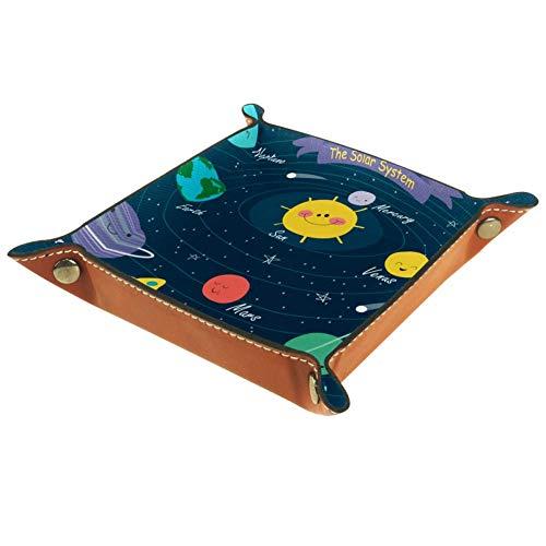 Bennigiry Valet Tray The Solar System Printing Leather Jewelry Tray Organizer Box für Geldbörsen, Uhren, Schlüssel, Münzen, Handys und Bürogeräte, Mikrofaser-Leder, Multi, 20.5x20.5cm