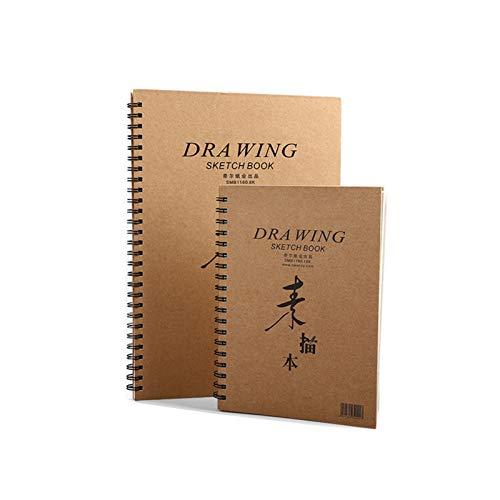 SHIFWE - Cuaderno de bocetos (8 K, 16 K, piel de vacuno, estilo retro, con dibujo de gouache, en blanco, papel de acuarela, apto para lápices de colores