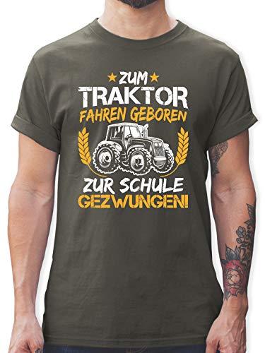 Sprüche - Zum Traktor Fahren geboren zur Schule gezwungen Orange/Weiß - S - Dunkelgrau - Geschenke für männer Traktor - L190 - Tshirt Herren und Männer T-Shirts