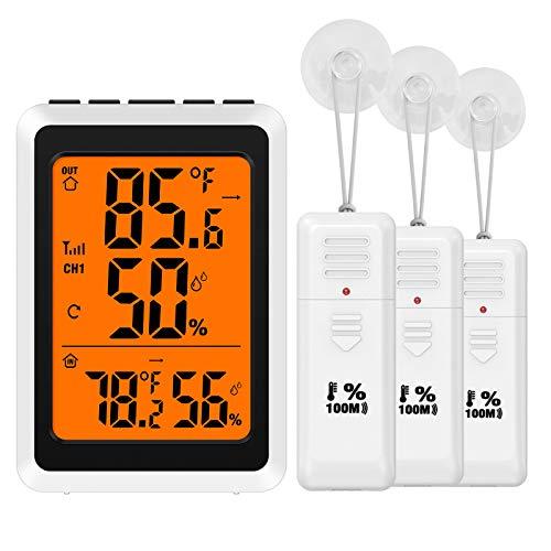 ORIA Termómetro de interior y exterior con 3 sensores inalámbricos, higrómetro digital, medidor de humedad, monitor de temperatura...