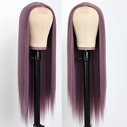 Missyvan Long Straight Hair Purple Color Hair Wigs Glueless Heat Resistant Fiber Hair Synthetic Hair Wigs for Fashion Women