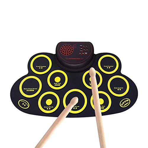 Tragbare elektronische Trommel Elektronisches Schlagzeug, tragbares elektronisches Schlagzeug-Pad, aufrollbares Schlagzeug-Pad, 9 beschriftete Pads und 2 Fußpedale Berührungsempfindliches Schlagzeug-S