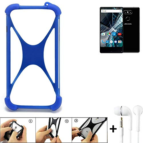 K-S-Trade® Bumper Für Archos Sense 55 S Schutzhülle Handyhülle Silikon Schutz Hülle Cover Case Silikoncase Silikonbumper TPU Softcase Smartphone, Blau (1x), Headphones