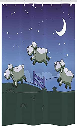 ABAKUHAUS Karikatur Schmaler Duschvorhang, Schafe zählen zu Sleep, Badezimmer Deko Set aus Stoff mit Haken, 120 x 180 cm, Dark Indigo Jägergrün