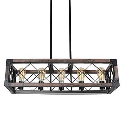 Beuhouz Rustic Rectangle Dining Room Light Fixture, Wood Farmhouse Kitchen Island Chandelier Lighting Black Metal Industrial Pendant Light 5 Lights Edison E26 8033