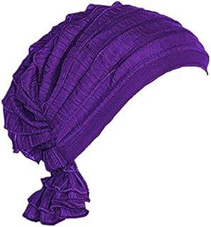 قبعة نوم ناعمة من الساتان بشريط مطاطي عريض ممتازة للنساء باللون الارجواني