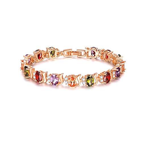 QSO Pulsera de oro rosa con circonitas y pulsera de diamante para mujer.