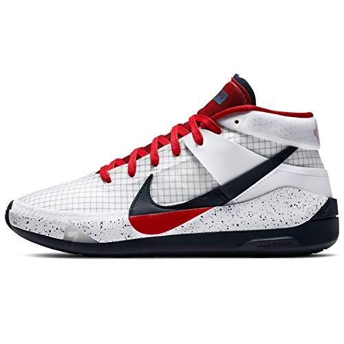 Nike Kd13 Ci9948-101 - Zapatillas de baloncesto para hombre, blanco (Blanco/Rojo Deporte Obsidiana), 48.5 EU