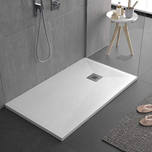 Piatto doccia bianco, in mineralmarmo con superficie ad effetto pietra ardesia, slim 3 cm, rivestito di Gelcoat, antiscivolo