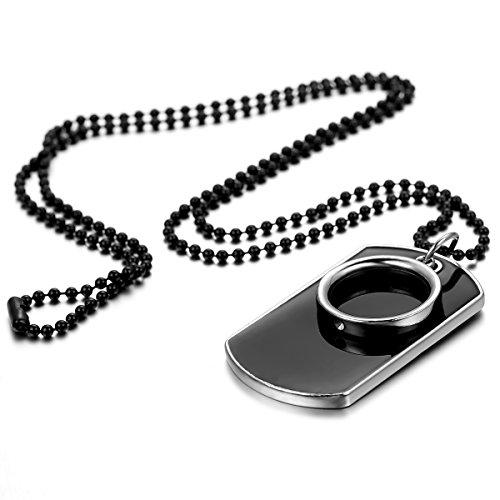 JewelryWe Schmuck Herren Halskette, Militärischen Ring Erkennungsmarken Armee Stil Dog Tag Anhänger mit 70cm Kette, Schwarz Silber, mit kostenlos Gravur
