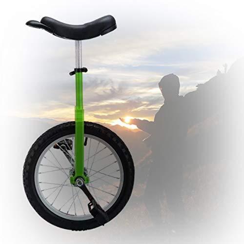 Trainer Einrad, 16/18/20 Zoll Freestyle Einrad Abgerundete Kunststoffpedale Konturierter Ergonomischer Sattel Für Anfänger/Kinder/Erwachsene (Color : Green, Size : 18 inch)
