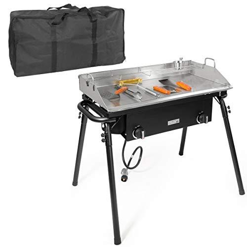 XtremepowerUS Outdoor Camping Propane Griddle Stove Set 20PSI Regulator Flat Griddle Pan Griddle 2-Adjustable Burner Tailgating w/Carrying Bag Camping Stoves