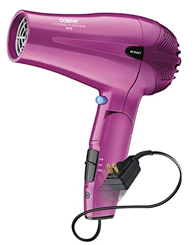 Conair 1875 Watt Cord Keeper 2-in-1 Styler/Hair Dryer with Folding Handle; Pink