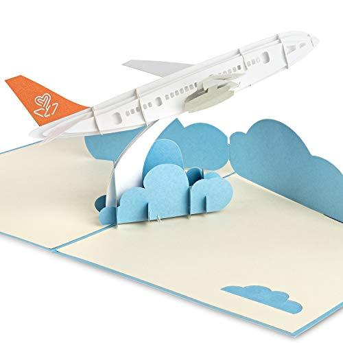 PaperCrush® Pop-Up Karte Flugzeug - 3D Gutscheinkarte für Urlaub, Flugreise, Besonderer Flugticket Gutschein - Handgemachte Geburtstagskarte als Reisegutschein, Geschenk vor Flug
