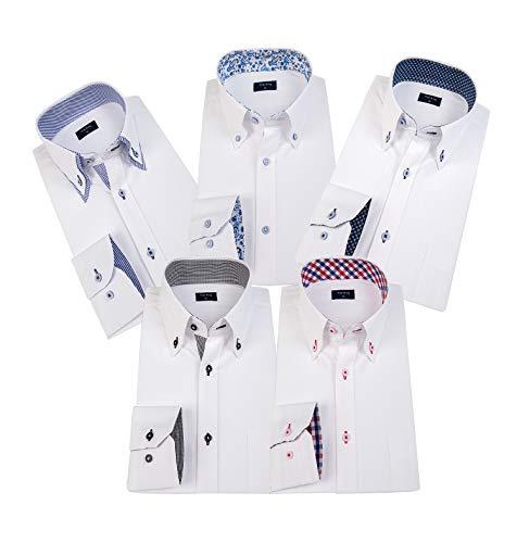 ワイシャツ 長袖 5枚セットメンズ ビジネス シャツ 多色選択(LM501E-L)