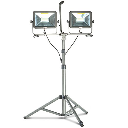 VonHaus Two-Head 10000 Lumen LED Work Light with Detachable Metal Lamp Housing, Metal Telescopic Tripod Stand, Rotating Waterproof Lamps and 8.2Ft Power Cord