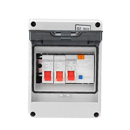 Runfon Interruptor de Unidad de Consumo de Potencia del Panel 2 vías Mini Protector de Fugas Junta Fusible 40a 30ma RCD 2 Mini-Interruptor 6a + 16a