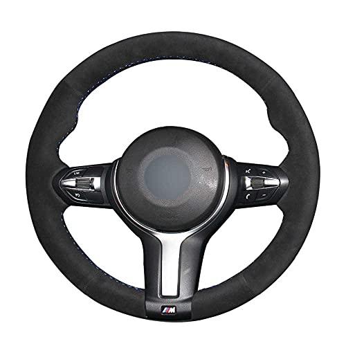 ZHHRHC Cubierta del Volante del Coche de Gamuza Cosida a Mano, Apta para BMW M Sport F30 F31 F34 X5 F15 M50d X6 F16 M50d F20 F21 M135i M140i F32 F33 F36 X1 F48