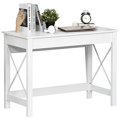 HOMCOM Mesa Escritorio Mesa de Ordenador Multifuncional Moderno y Minimalista para Oficina Estudio 105x50x76 cm Blanco