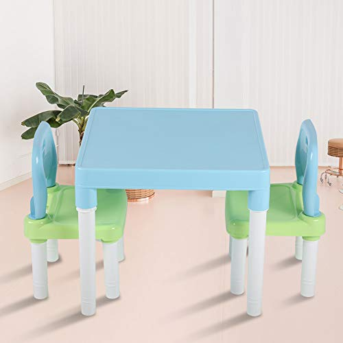 Aynefy - Conjunto de mesa y sillas infantiles de plástico, mesa de estudio de plástico para guardería, multifuncional, para bebé, 1 mesa + 2 sillas (azul + verde)