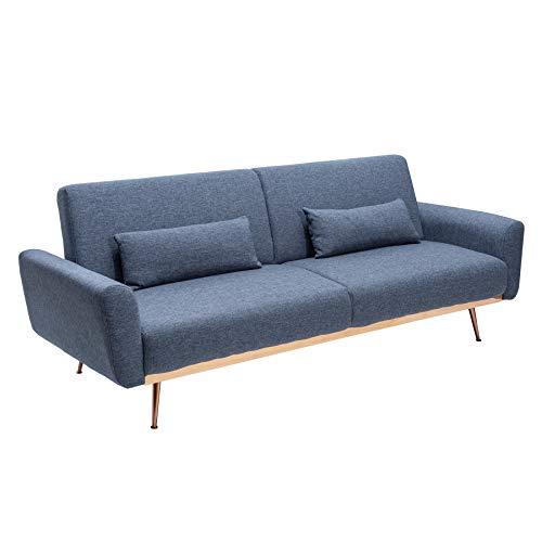 Invicta Interior Retro Schlafsofa BELLEZZA 208cm blau 3-Sitzer Couch inkl. Kissen Sofa Schlafcouch Couch