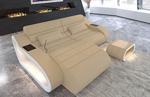 Sofa Dreams stoffen hoekbank München L-vorm kort met USB en LED-verlichting