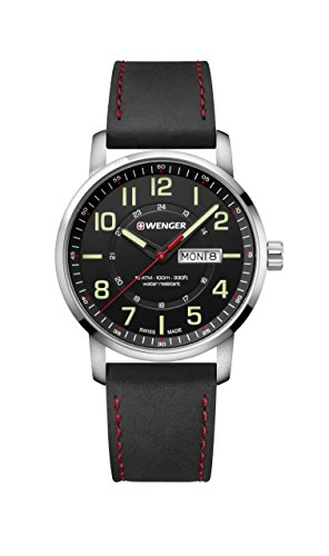 Wenger Men's Sport Stainless Steel Swiss-Quartz Watch with Leather Strap, Black, 22 (Model: 01.1541.101)
