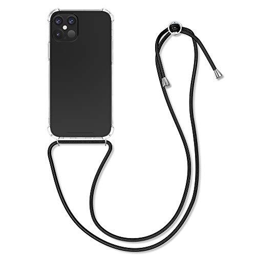 kwmobile Cover a Tracolla - Back Case in Silicone con Laccio per Il Collo - Custodia con Cordino Compatibile con Apple iPhone 12 Max / 12 PRO