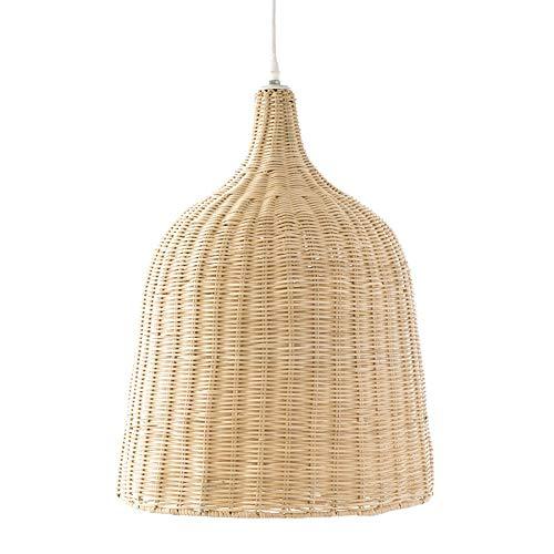 Kenay Home Lámpara de Techo, Ratán y Blanco