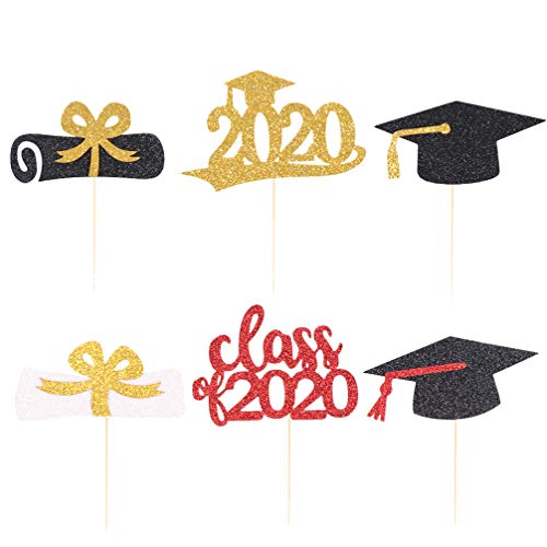 Amosfun 12 stks Graduation Party Cake Topper 2020 Grad Cupcake Picks Decoratieve Diploma Bachelor Cap Toppers Party Cake Dessert Tandenstoker Toppers voor Verzamelen Size 2 Afbeelding 1