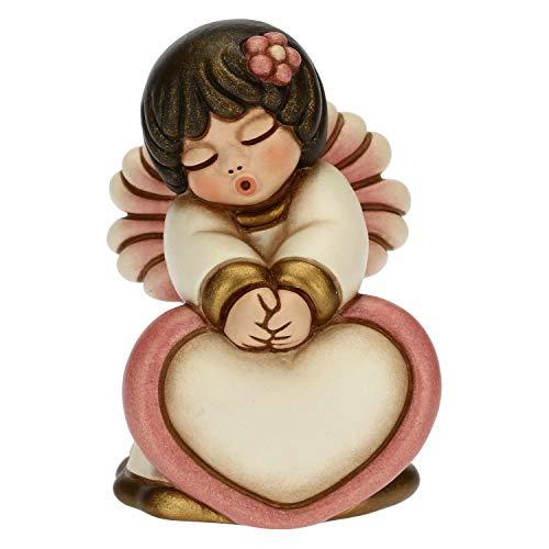 THUN - Soprammobile Angioletto Rosa con Cuore - Bomboniere Battesimo Bambina - Linea Cerimonia - Formato Piccolo - Ceramica - 5,4 x 5 x 7 h cm